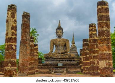 The attitude of subduing Mara in Wat Sri Chum temple at Sukhothai Historical Park, Thailand.