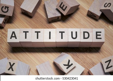 Attitude Word In Wooden Cube