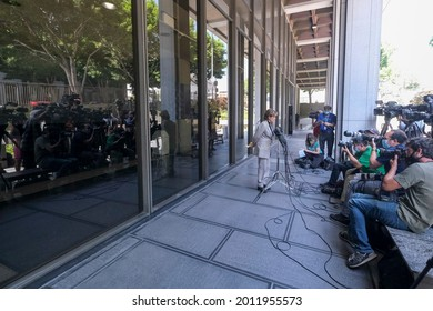 Attorney Gloria Allred who represents several of Harvey Weinstein's accusers, speaks to the press outside the court following Harvey Weinstein pleaded not guilty in Los Angeles on July 21, 2021.