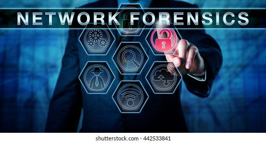 Attorney pushing NETWORK FORENSICS on an interactive virtual touch screen monitor. Law enforcement metaphor and information technology concept for computer forensics focused on the internet traffic.