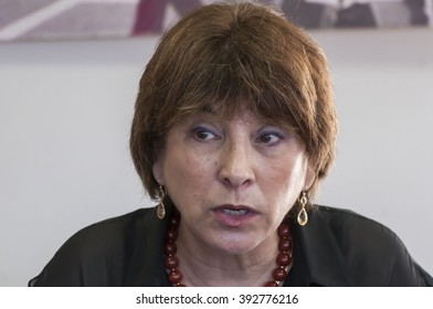 Attorney Talia Sasson, New Israel Fund president and an author of Sasson report, meeting the Russian-speaking journalists. Tel Aviv, Israel. June 2014
