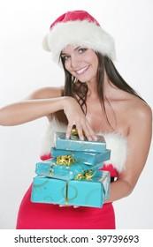 Attracive brunette girl in santa cloth