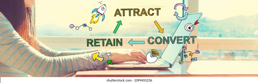 Attract Convert Retain with woman working on a laptop in brightly lit room