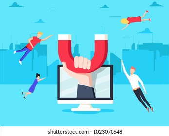 Attracting online customers. Hand with magnet attract people and money in screen. Customer retention strategy, Digital inbound marketing, Customer attraction flat banner.