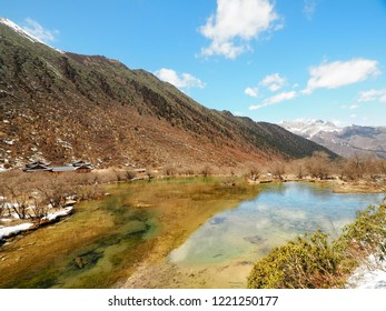 Attraction Huanglong long (Yellow Dragon) National park and world heritage site in Sichuan province, China.