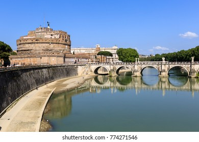 Attraction Saint Angel Castle and bridge Ponte Sant Angelo in Rome, Italy, Sunny summer day