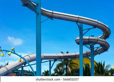 attraction with a water pipe in the aqua park.