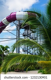 attraction with water pipe in aquapark