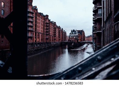 Attractions in Hamburg in cloudy weather. Port city, memory city in the North of Germany