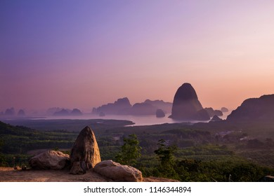 Attractions in Phang Nga Province.And There is a sandy sea.See the beauty of the morning of nature.Panorama Sunset/sunrise time at Samed Nang Chee mountain view point in Phang Nga Province.