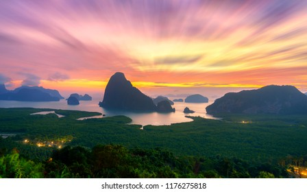 Attractions in Phang Nga Province.And There is a sandy sea.See the beauty of the morning. sunrise time at Samed Nang Chee mountain view point in Phang Nga Province. Thailand,UNSEEN Thailand.