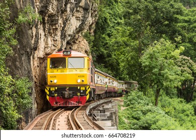 Attractions/Vehicles - Train passing wooden bridge railway (Dead railway, Death-railway) in Kanchanaburi, Thailand picture 1