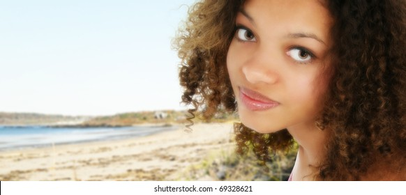 Attractive 18 year old black teenage girl at beach.