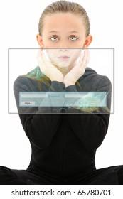 Attractive 7 year old girl child in futuristic education scene over white background.