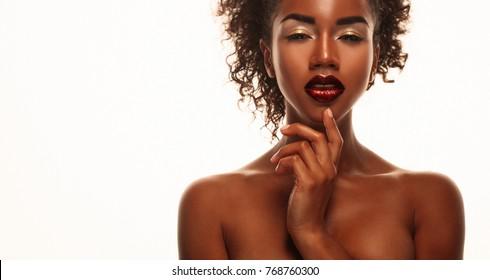 attractive african american woman closeup portrait
