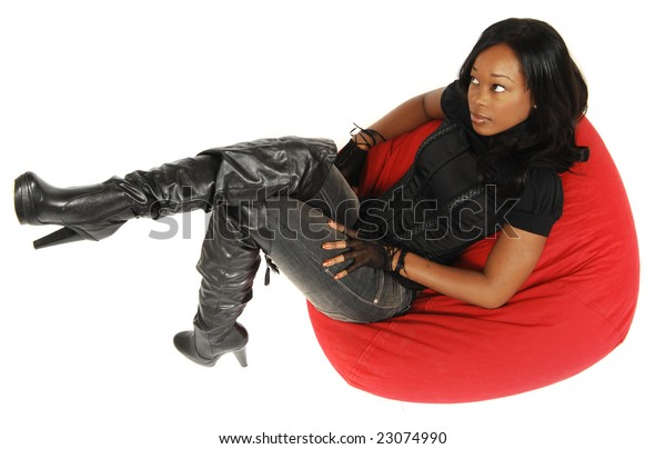 Fine Attractive African American Woman Laying On Stock Photo Caraccident5 Cool Chair Designs And Ideas Caraccident5Info