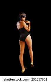 Attractive African American Woman Standing Black Outfit
