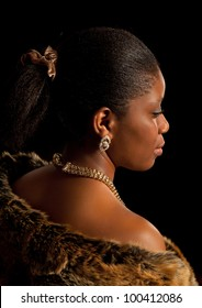 Attractive african young lady in luxury fur