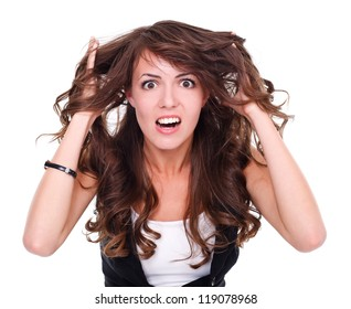 Attractive angry woman over white background