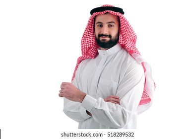 Attractive Arabian Business Man standing over a white background, success concept