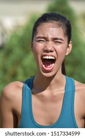 An Attractive Asian Adult Female Yelling