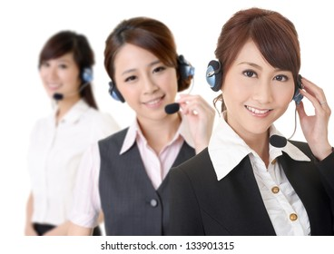 Attractive Asian business secretary team with smiling face, closeup portrait.
