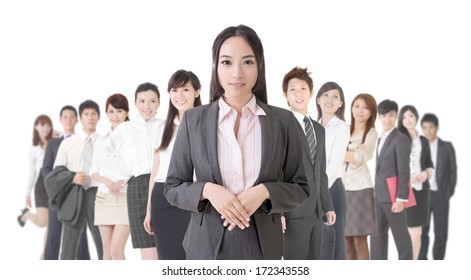 Attractive Asian business woman and her team.