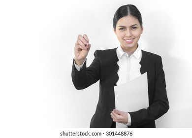 Attractive asian business women is write