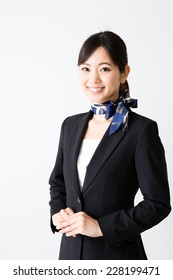 attractive asian businesswoman on white background
