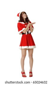 Attractive Asian Christmas woman standing and waiting snow falling isolated over white.