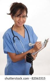 Attractive asian filipino nurse doctor healthcare worker