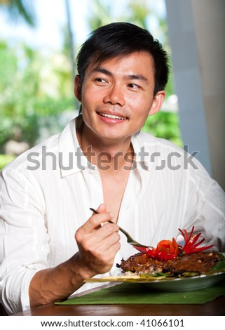 Theme, will Asian man eating think