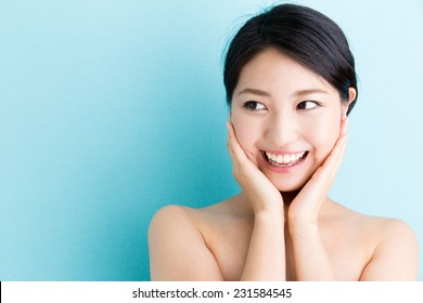 attractive asian woman beauty image on blue background