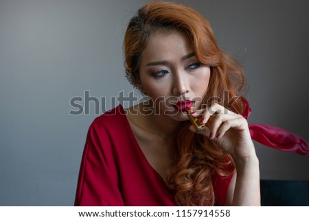 Attractive Asian Woman Red Hair Apply Stock Photo Edit Now