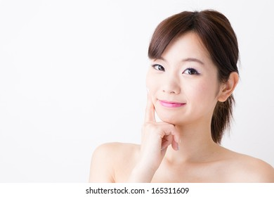 attractive asian woman skin care image isolated on white background