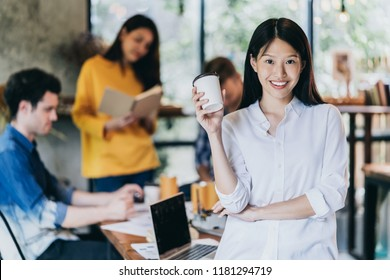 attractive asian woman smile with happiness and confident with teamwork meeting backgrond startup ideas concept