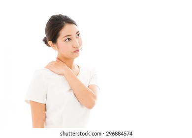 attractive asian woman wearing white clothes on white background