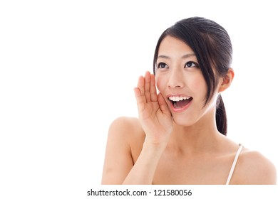 attractive asian woman yelling on white background