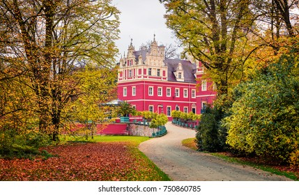 Attractive autumn morning of Muskau castle. Nice morning scene in Muskau Park, UNESCO World Heritage Site, Upper Lusatia region, Saxony, Germany, Europe. Traveling concept background.