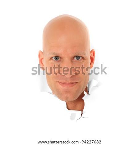 attractive bald man breaks his head stock photo edit now 94227682