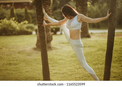 Attractive ballet dancer during her stretching exercising in green park background, aerobic proffesional outdoors. Concept of woman s Beauty, Sport, Nature and Healthy Lifestyle.