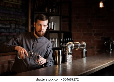 Attractive bartender is mixing a cocktail