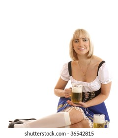 Attractive bavarian woman isolated on white