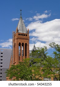 Attractive bell tower and steeple on a church in the west in Denver, Colorado