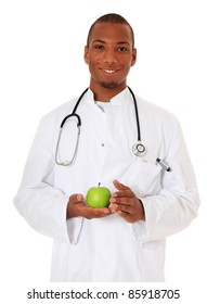 Attractive black doctor. All on white background.
