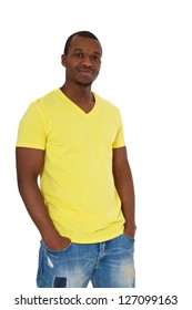 Attractive black guy. All on white background.