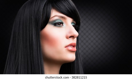 attractive black haired woman