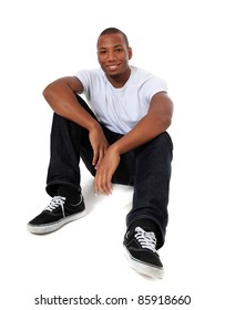 Attractive black man. All on white background.