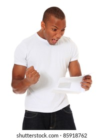 Attractive black man getting good news. All on white background.