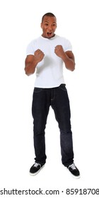 Attractive black man jubilating. All on white background.